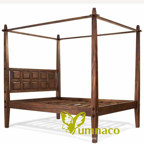 Indonesian Reclaimed Teak Furniture Yumna Bali Wood Canopy Bed