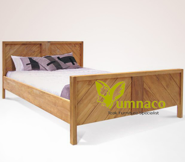 Indonesian Reclaimed Teak Furniture Yumna Chevron Vintage Bed