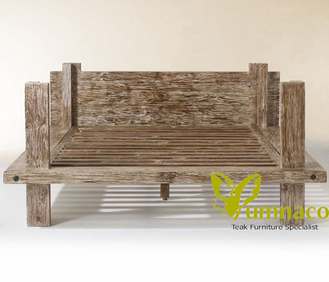 Indonesian Reclaimed Teak Furniture Yumna Pakkola Rustic Bed