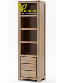 Yumna White Recycled Bookcase - Reclaimed Indonesian Teak Furniture