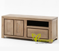 Yumna White Recycled TV Cab - Reclaimed Indonesian Teak Furniture