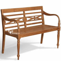 Yumna Antique Garden Bench - Indonesian Outdoor Teak Furniture