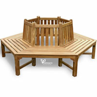 Yumna Tree Hexagonal Bench - Indonesian Outdoor Garden Teak Furniture